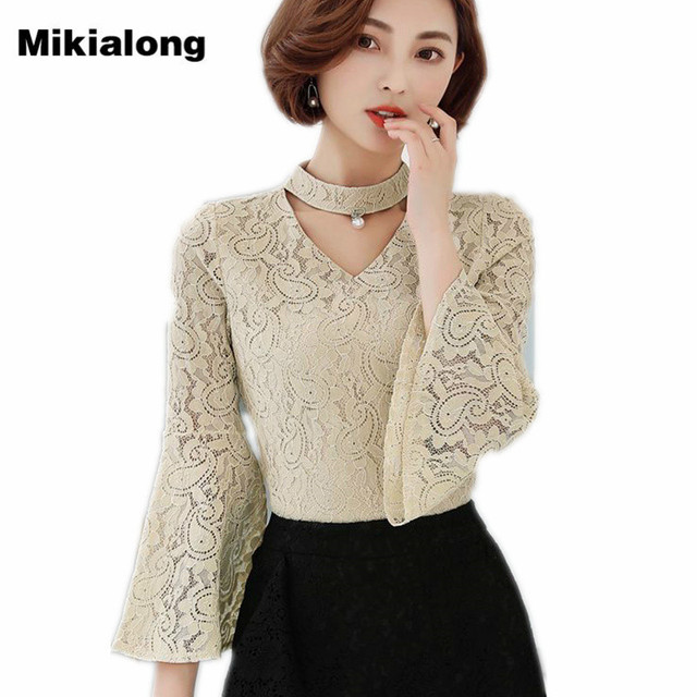 2017 New Fashion Summer Choker Lace Blouse Women Solid Flare Sleeve Shirt  Female Crochet Tops Hollow Out Chemise Femme 24f2be92328f