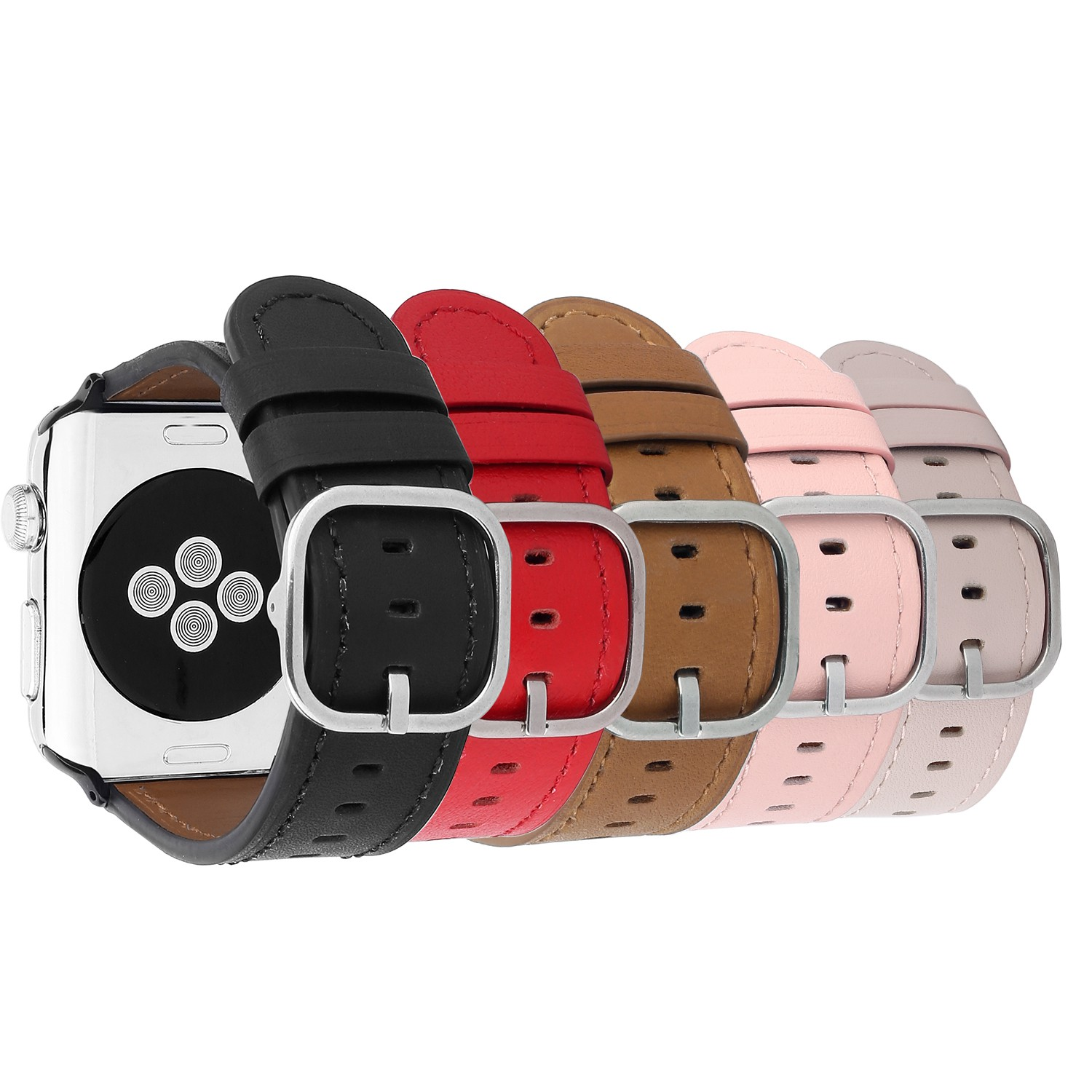 Genuine Leather Wrist Strap for Apple Watch Series 1 2 3 Band Classic Metal Buckle Wristband Belt for iWatch 42mm 38mm Bracelet genuine leather watch strap with lugs adapters for apple watch 42mm series 1 series 2 us flag