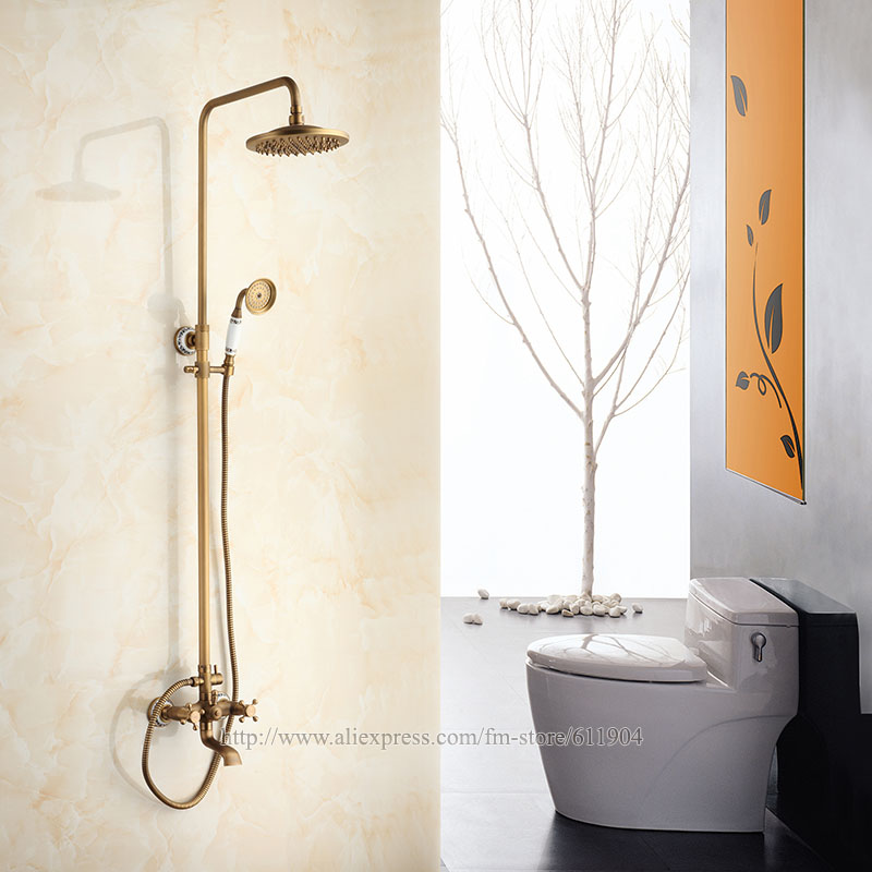 Pattern Ceramic Style Bathroom Shower Faucet Tub Faucets Bath Shower Set Mixer Tap 8 Inch Shower Head Antique Brass wall mount single handle bath shower faucet with handshower antique brass bathroom shower mixer tap