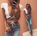 Sexy white cotton bustier crop tops women Casual hollow out lace up tank top summer beach lace blouse short tops   C0308