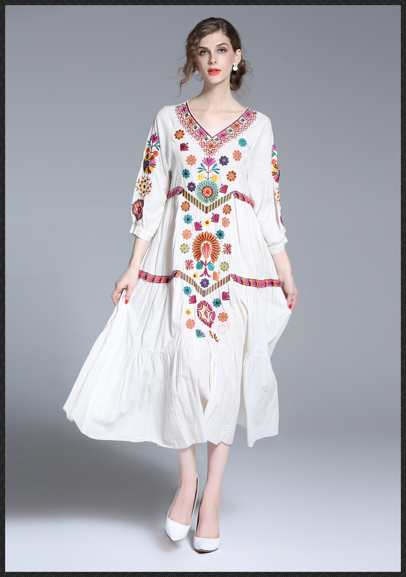Womens Casual 34 Sleeve Floral Embroidered Mexican Peasant Dressy