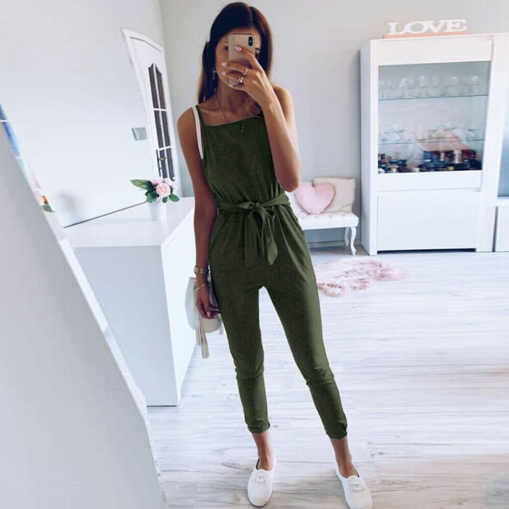 Womail Fashion Womens Daily Cloth Jumpsuits Sleeveless Playsuit Ladies Casual Loose Wide Leg Long Pants Jumpsuit Summer Jul11
