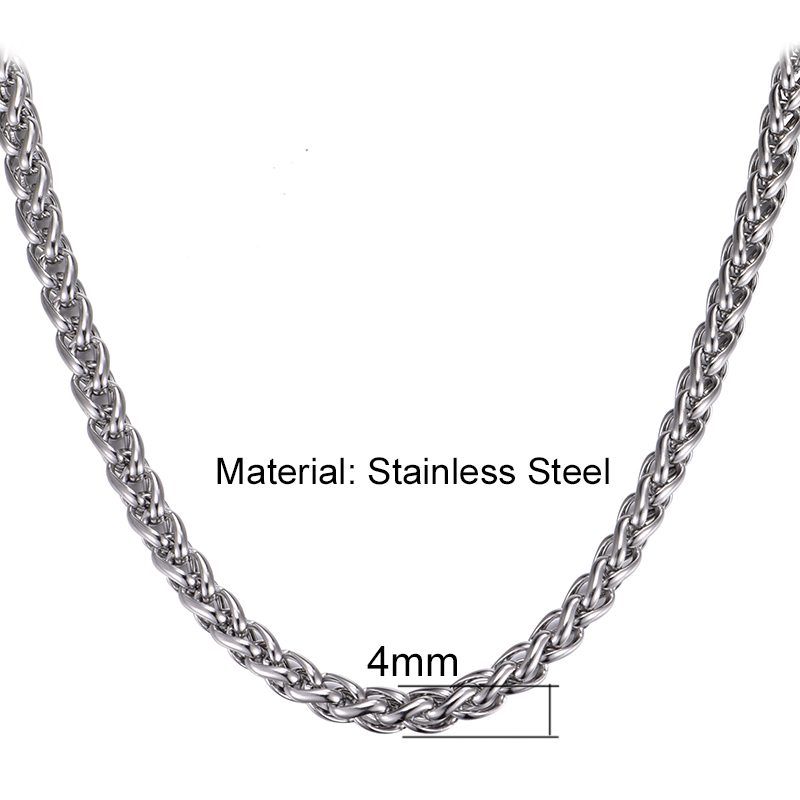 10PCS/lot 4mm 6mm Silver Color Stainless Steel Twist Weave