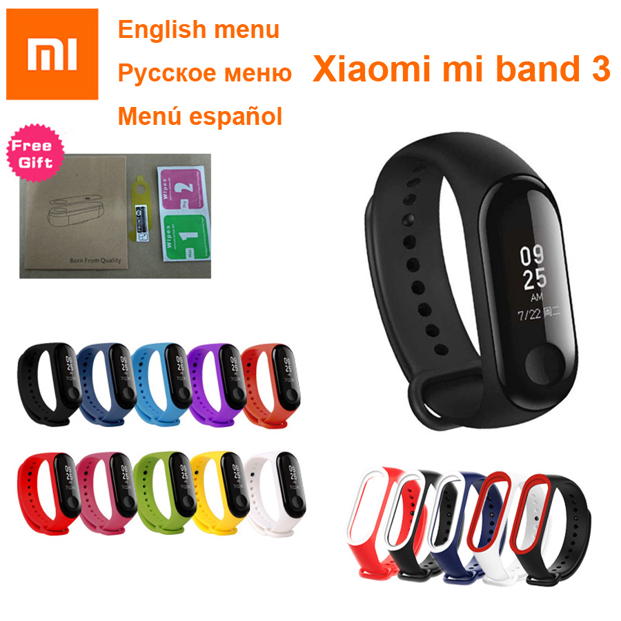 Xiao mi mi Band 3 Samrt Armband Fitness Tracker mi band Ativity Correa Pulseria Armband Fit Touchscreen 50 M wasserdichte mi band3