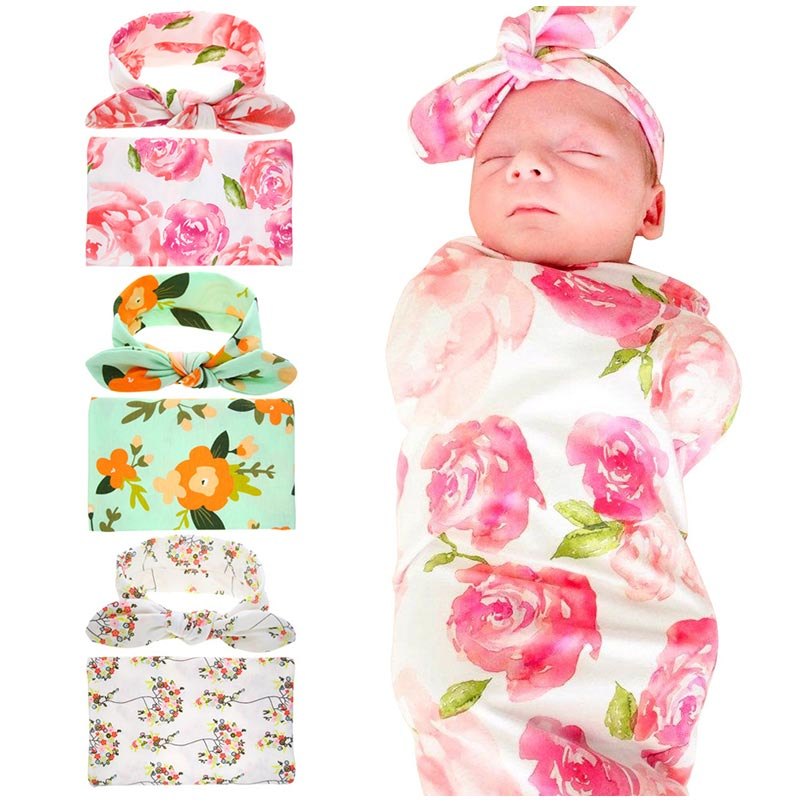 Infant baby swaddle Rabbit Ear Headband Set Printed blankets Newborn Photographed Wrap Receiving Blanket Bedding Sleep Sack