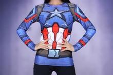 New Women   Avenger Captain America T-shirt Girls Long Sleeve Tee Compression Lady Fitness Crossfit Tops XXS-3XL