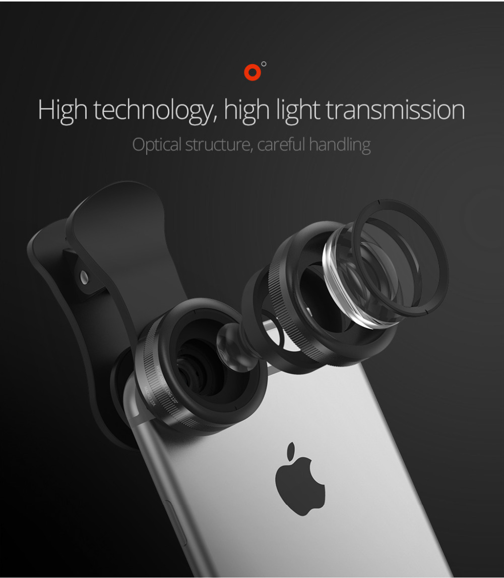 TORRAS Mobile Phone Lens Wide Angle Fish Eye Clip-on Alloy Metal Cell Phone Camera Lens Kit 15X Macro For iPhone Lens with Case 4