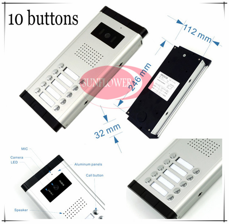 CCD lens outdoor camera Video door phones intercom systems door bells with 10 buttons for 10 apartments HD Camera Drop ship access control function video door phones intercom systems for 10 apartments with ten 7 lcd and 10 buttons outdoor camera