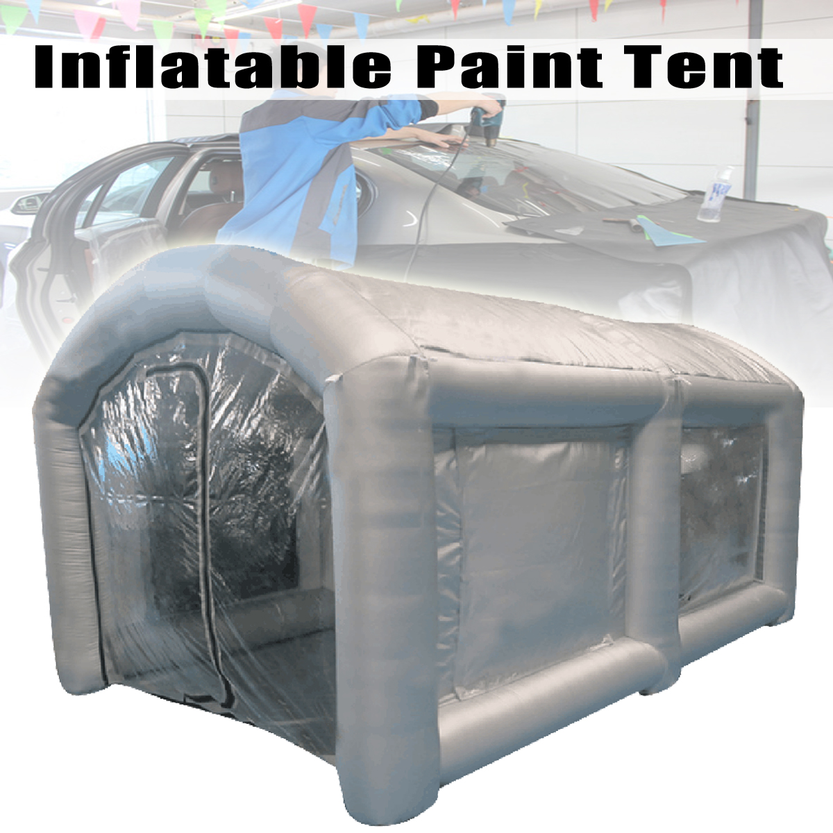 все цены на Outdoor Portable 4x2.5x2.2M Inflatable Spray Booth Tents Inflatable Paint booth Car Parking Tent Workstation with Blower