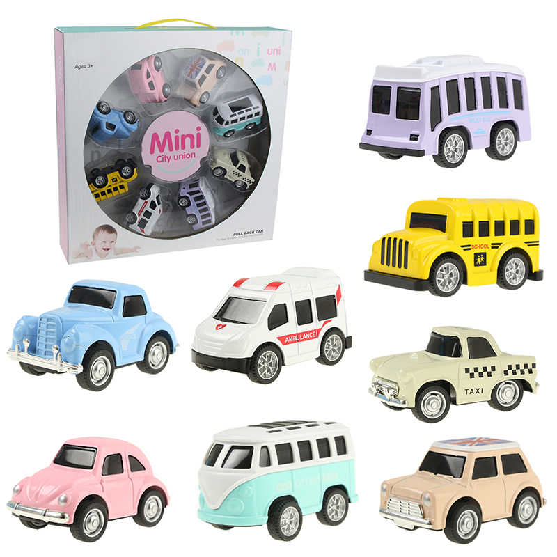 8 PCS/Set Cute Mini Diecast Car Alloy Pull Back Vehicles Model Toy Metal Lovely Colorful Taxi Bus Toys Alloy Car For Kids Gift