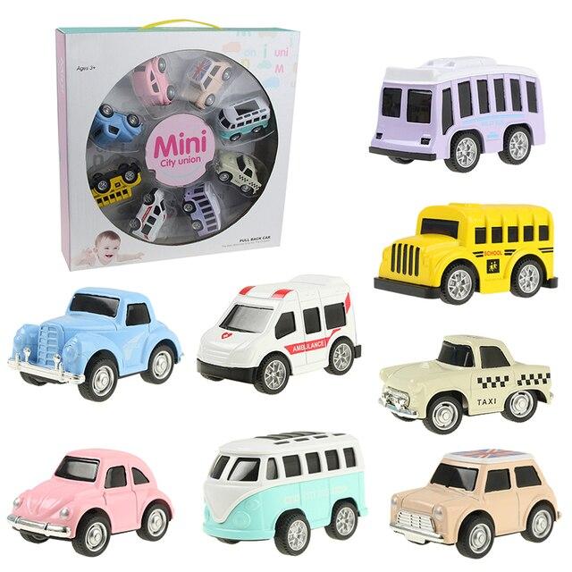 8 pçs/set Bonito Mini Liga Pull Back Veículos Modelo de Brinquedo Do Carro Diecast Metal Colorido Encantador Liga Brinquedos Do Carro de Ônibus Táxi para o Presente Dos Miúdos