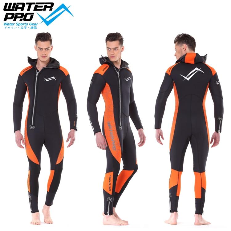 Water Pro Orange Hooded Wetsuit 5mm Unisex Ultrastretch High Quality Neoprene Water Sports Snorkeling Scuba Diving Wholesale water pro liquid force mask scuba diving snorkeling