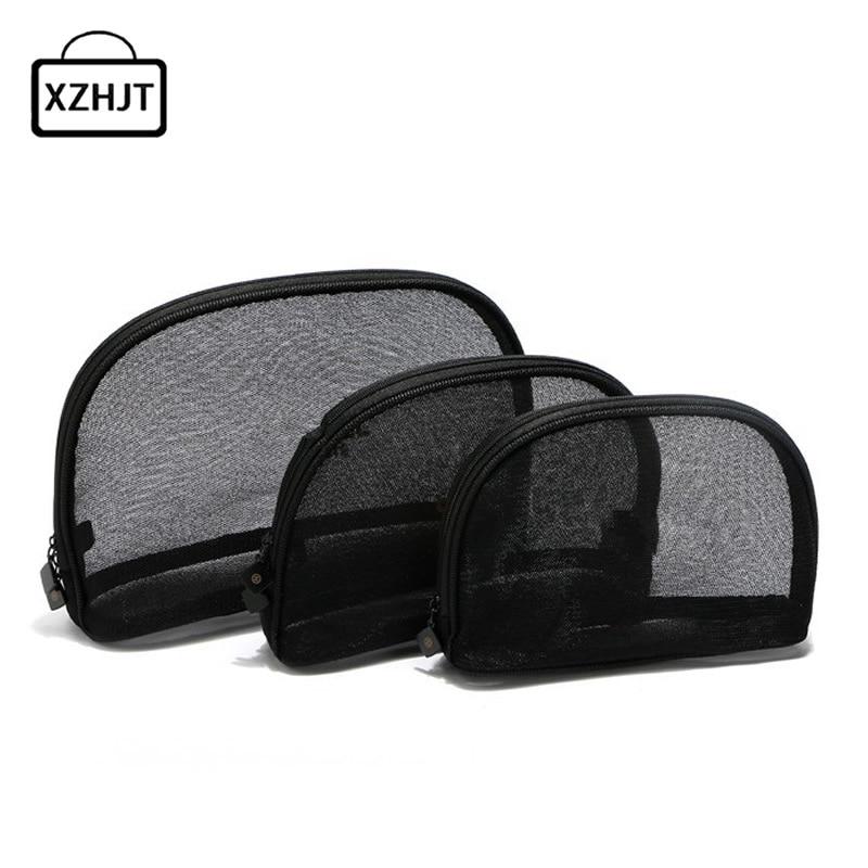 3pcs Travel Cosmetic Bag Women Fashion Black Mesh Zipper Makeup Case Animal Make Up Bags Organizer