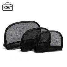 3pcs Travel Cosmetic Bag Women Fashion Black Mesh Zipper Makeup Case Animal Make Up Bags Organizer Storage Pouch Toiletry Bag