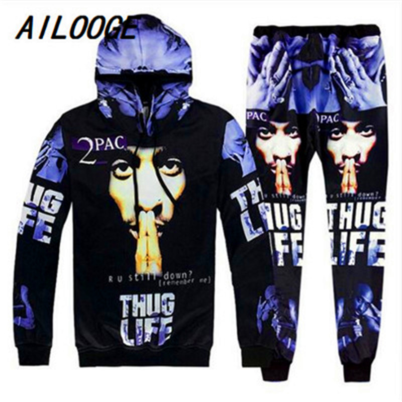 AILOOGE 2018 Hip Hop Men 3D Hooded Tracksuits Sets Printing 2Pac Tupac Fashion Hoodies Sweatshirt And Pants Pullover S-2XL