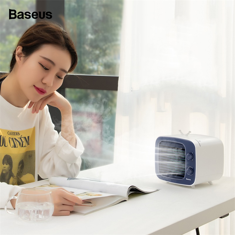 Baseus USB Cooling Fan Mini Air Cooler Portable Air Humidifier Purifier 3 Speed Desk Small Air