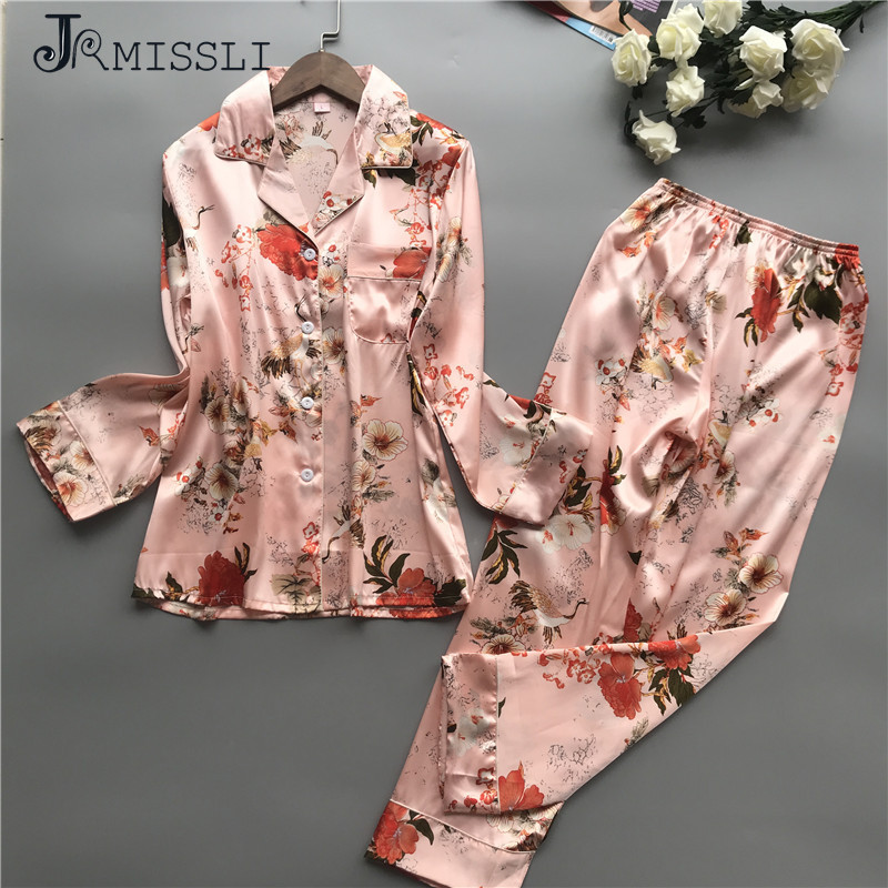 JRMISSLI Satin Pyjamas Women Flower   Pajamas     Sets   2019 Spring Women Sleepwear Elegant Pijama Mujer Fashion Female Suit