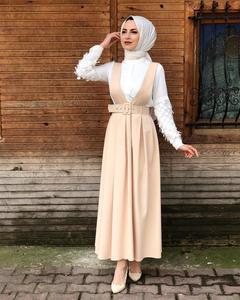 Image 5 - 5 צבעים מלא מעגל התלקח מקסי חצאית נשים המוסלמי קפלים החגורים כתפיות חצאיות האסלאמי תלבושות מקרית Loose אופנה