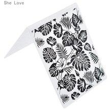She Love Turtle Leaves Plastic Template Embossing Folder For