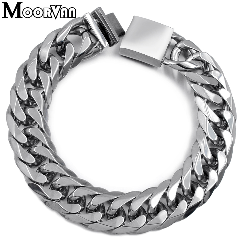 Moorvan sale item for man bracelet 22cm 16mm cool Mens Bracelets,his gift,stainless steel cut link chain,male accessory V718