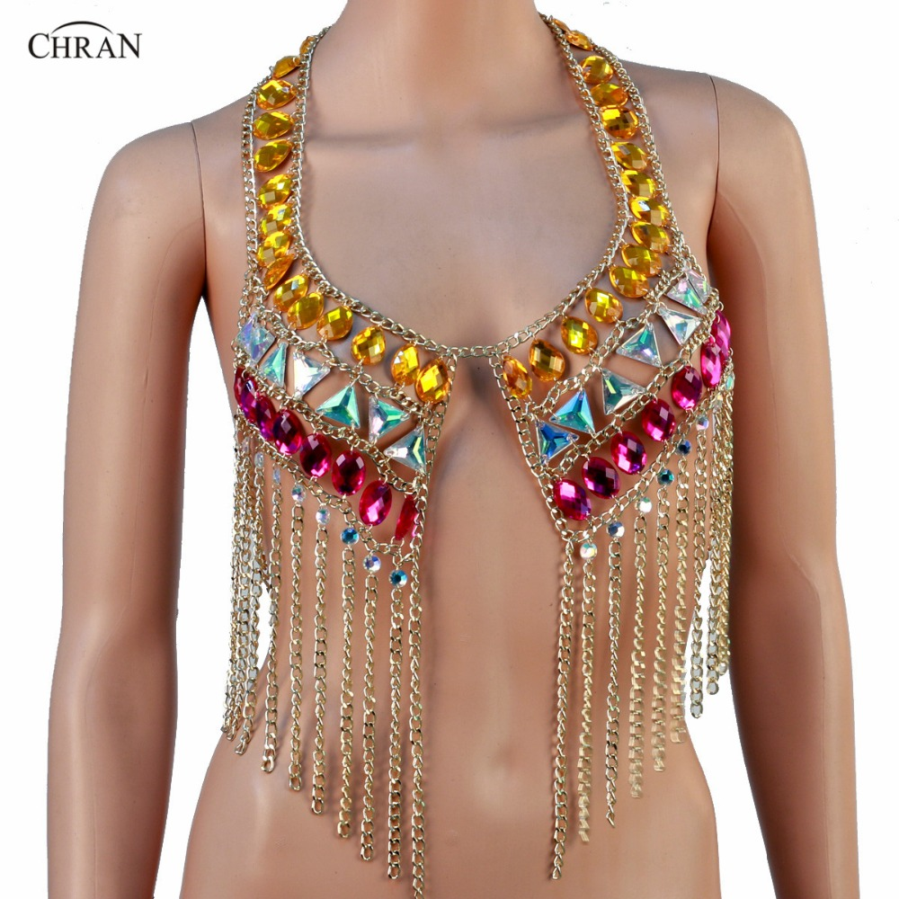 CHRAN Vintage Style Tassels Design Women Sexy Beach Chain Jewelry Belly Dance Rave Bra Halter Body Necklace Chain new women s belly dance set costume belly dancing clothes sexy night dance bellydance carnival tops chain bra belt 18128
