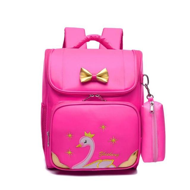 155e9e4a2d1 US $22.57 40% OFF| 2019 Cute Pink Swan Girls School Bags Protect the Spine  Backpacks Schoolbag Teenage Girls Waterproof Oxford School Backpack Bag-in  ...