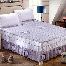Серый сетки Твин Полный Королева Король Размер с резинкой кровать юбка Хлопок Покрывала Нескользящие матраса постельные принадлежности