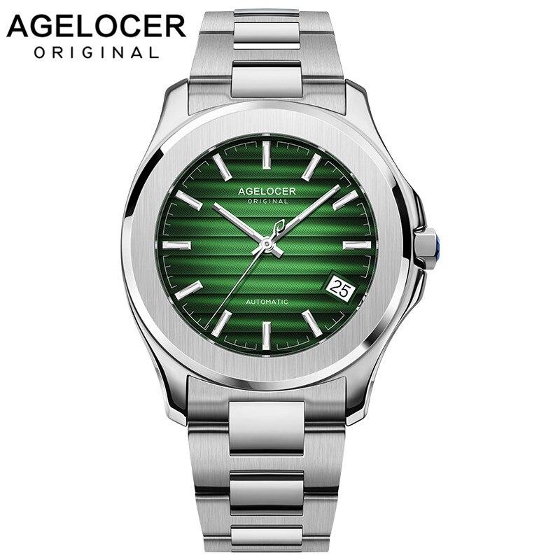 Suisse montre automatique hommes AGELOCER mécanique hommes montres plein acier 316L saphir Relogio Masculino étanche vert