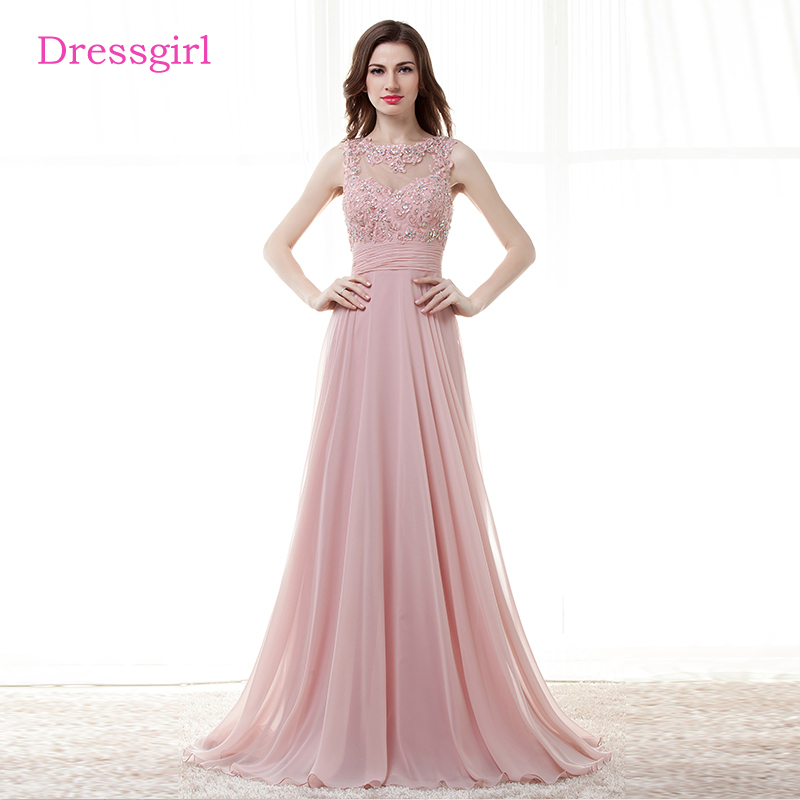 Pink 2019 Cheap   Bridesmaid     Dresses   Under 50 A-line Chiffon Appliques Lace Beaded Open Back Long Wedding Party   Dresses