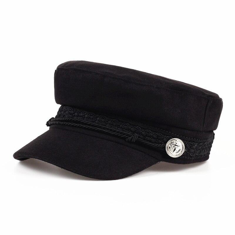 2017 Fashion Solid Visier Military Hut Herbst und Winter Vintage wolle Patchwork Baskenmütze Mütze Für Frauen England Stil Flache Kappe