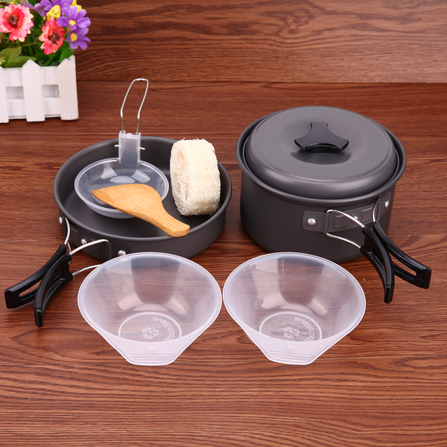 8PCS Non-stick Cookware Set for Kitchen Bowl Pot Frying Pan Set Outdoor Camping Hiking Cooking Picnic Tableware with Backpacking