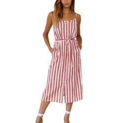 """Moda stałe pani ubrania damskie Boho Stripe Camisole sukienka bez rękawów damska koszulka z dekoltem w kształcie litery """"o"""" letnia sukienka imprezowa sukienka 3"""