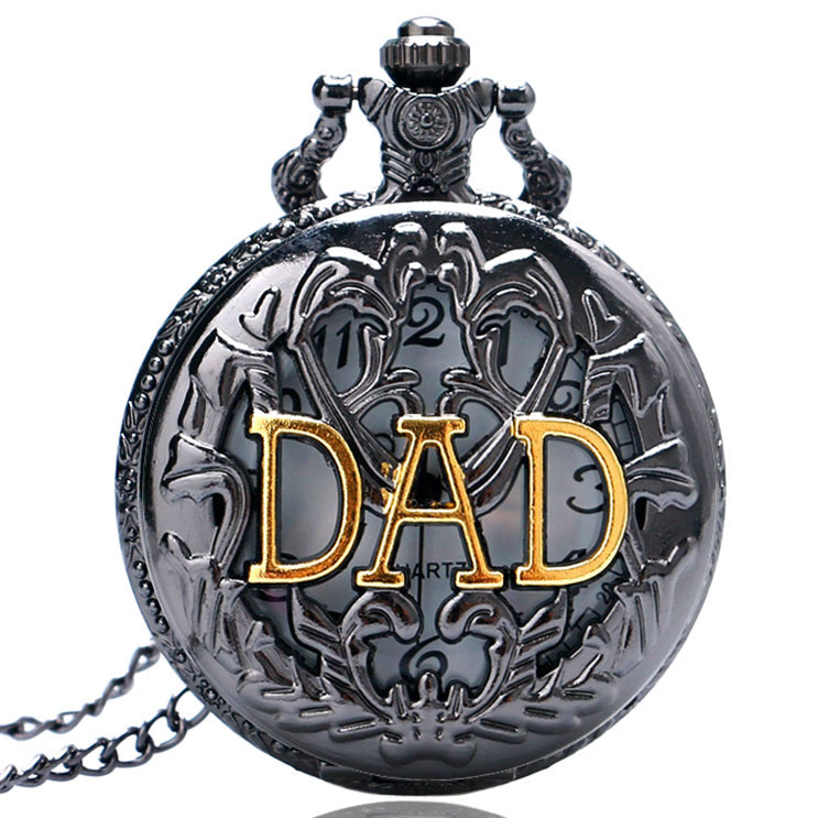Black Case DAD Hollow Quartz Pocket Watch Mens Pendant Watch Chian father's day gift for dad P359