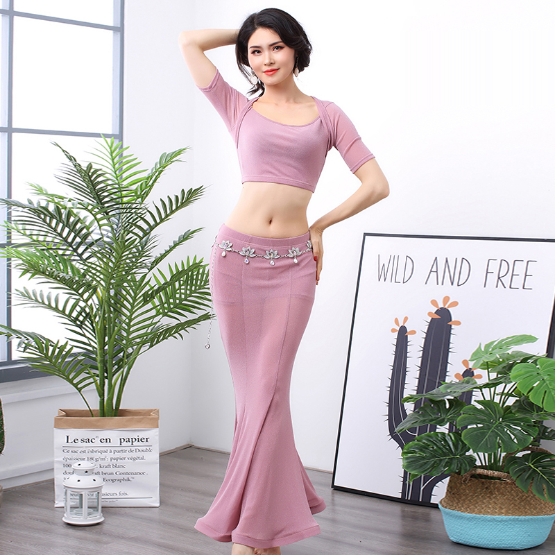 Belly Dance Exercise Clothes 2019 Spring And Summer New Sexy Silver Silk Shirt Long Skirt Female Practice Clothing Suit Costume