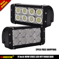 2pcs Free Shipping 8 INCH 80W LED WORK LIGHT BAR For TRUCKS 4x4 OFF ROAD COMBO
