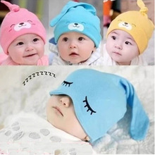 2016 New Infants Toddlers Candy Color Cotton Comfort Sleep Caps Baby Girls Boys Headwear Cute Mult-Color Tire Hat Cartoon Cat