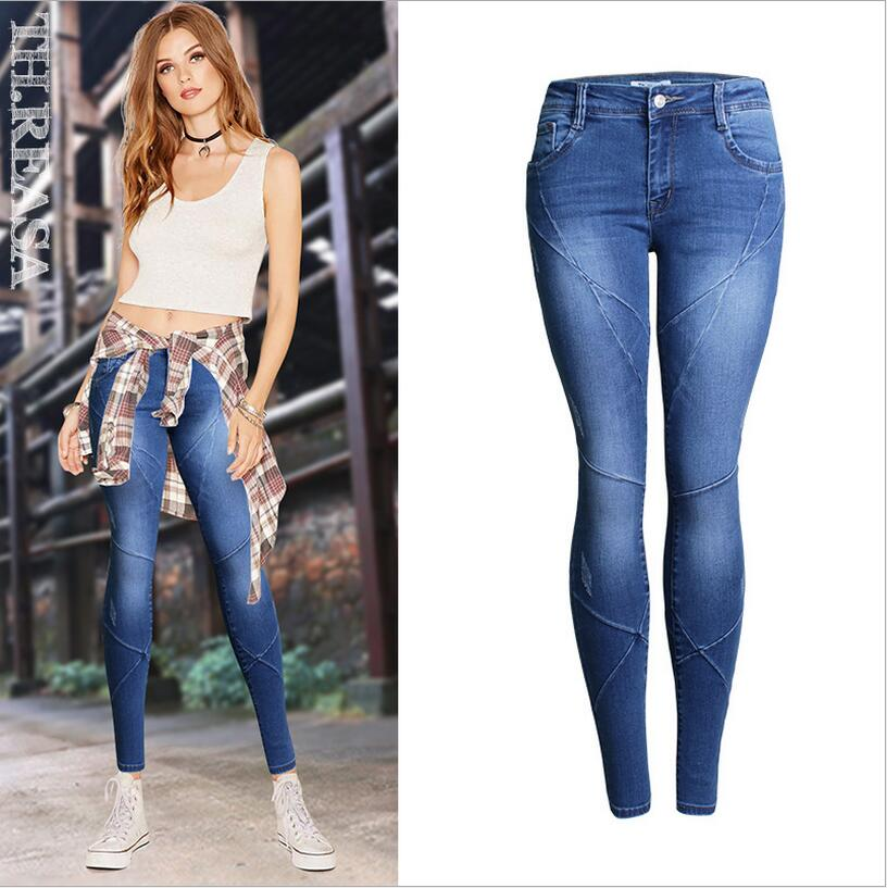 New style jeans Slim stretch jeans female trousers autumn new cross stitch fight off pants feet