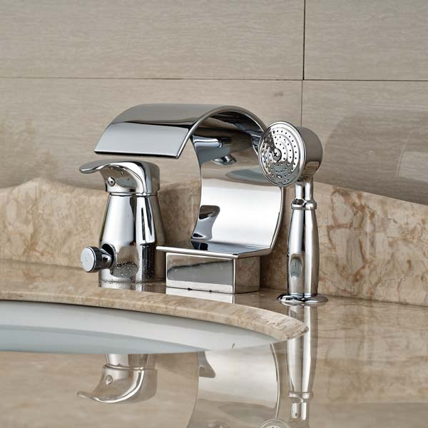 Polished chrome brass waterfall spout bathroom sink faucet - Bathroom sink faucet with sprayer ...