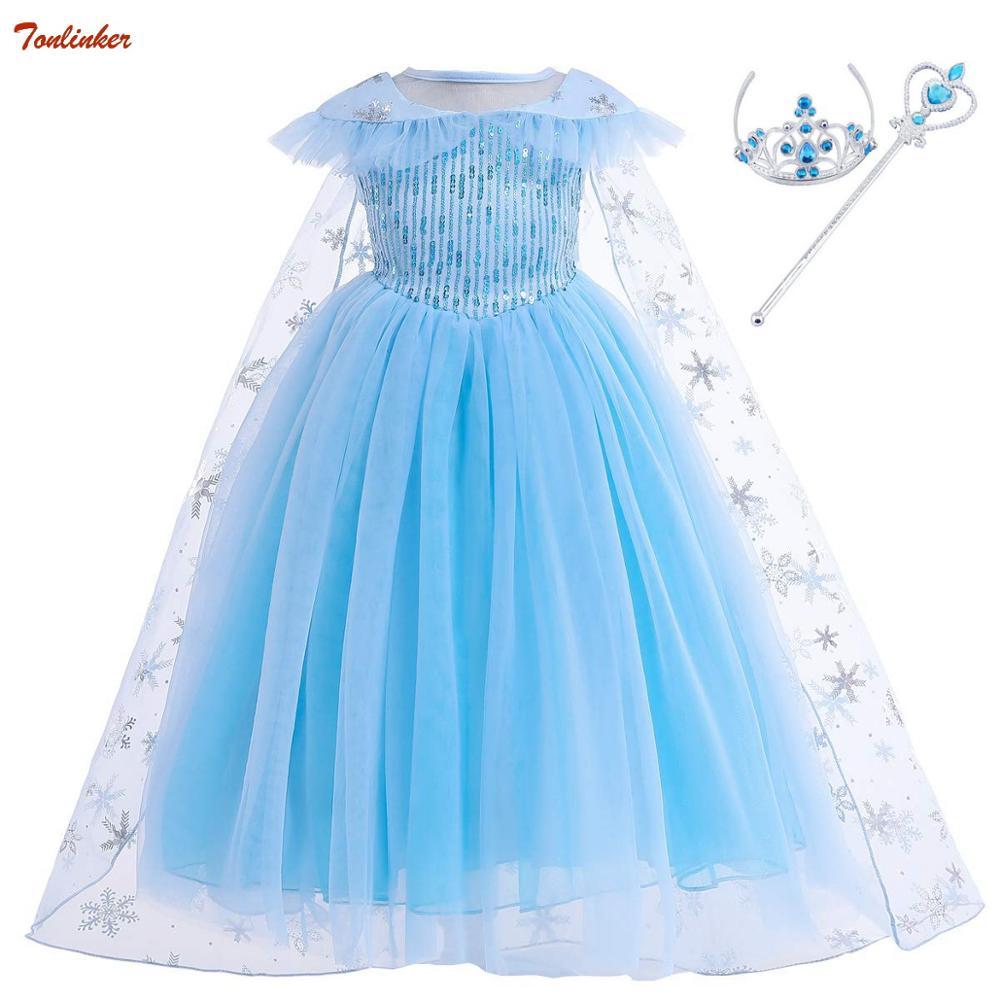 New Elsa Sequin Dress With Cloak Crown Princess Girls Anna Costume Snow Queen Cosplay Dress Kids Hair Accessories Tiara Party
