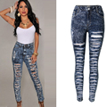 High Waist Hole Snow Ripped Jeans for Women Sexy Skinny Pencil Pants Denim Trousers Female Slim Fashion Pants Plus Size P45