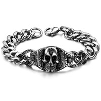 Wholesale Cool 316L Stainless Steel Mens Skull Bracelet Chain For PUNK 2016 Biker Jewelry