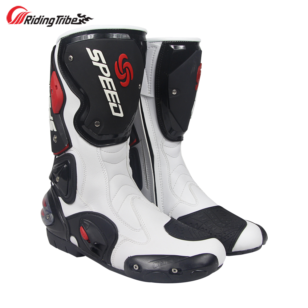 813c4cdfbefb17 Riding Tribe Men s Motorcycle Racing Boots Mid-Calf Ankle Protective Gears  Moto Motorbike Riding Shoes Foot Guards B1001
