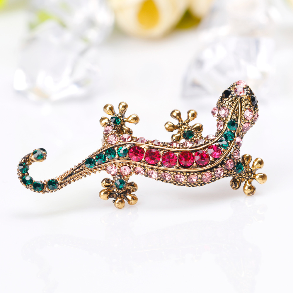 Mloveacc colorido cristal lagarto Broches ramillete broche Gecko ...