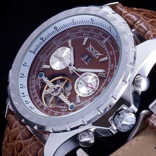 JARAGAR Nouveau Design De Luxe Automatique Squelette Mécanique Hommes Montres Vintage Robe Reloj De Mode Bracelet En Cuir Relogio Masculino