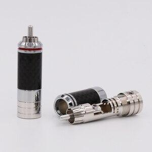 Image 4 - 4Pcs Copper Rhodium Plated Non Solder Carbon Fiber RCA Connector Plug
