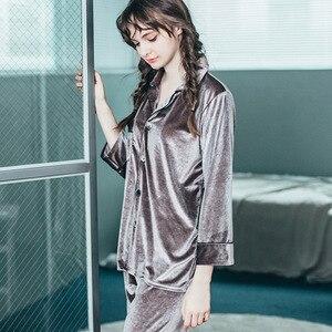 Image 5 - JULYS שיר אישה איש סתיו חורף פיג מה סט הלבשת זוג פיג מה זהב קטיפה למעלה ומכנסיים פיג מה ארוך שרוול Homewear