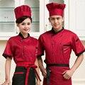 Alta qualidade 2016 Verão de manga curta-Chef serviço jackte Hotel Restaurante desgaste do trabalho roupa de trabalho uniforme Ferramental cozinhar Tops