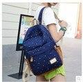 Las mujeres de alta calidad de la lona estudiante femenino mochila escolar libro mochila señora linda ocasional azul marino doble cremallera mochila mochila