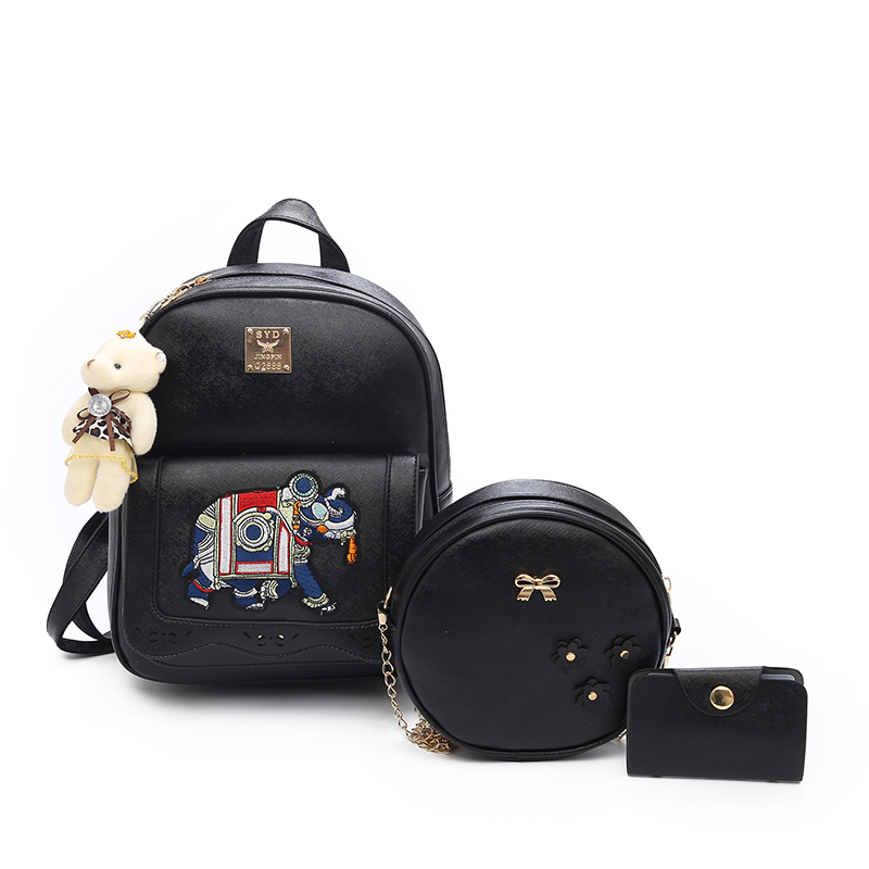 Hollow Out Small women Shoulder bags black Composite bag set designer Backpacks fashion PU leather School bags for Teenage Girls women backpacks fashion pu leather shoulder bag small backpack women embroidery dragonfly floral school bags for girls