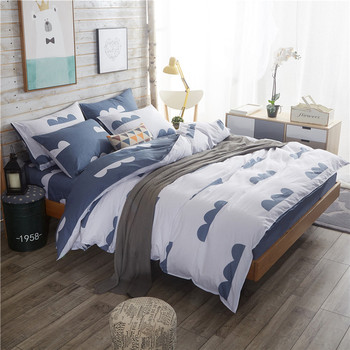 Twin full Queen King size Pure Cotton Grey Bedding sets Soft Bedclothes Geometric Bed sheet set Duvet cover Pillowcases 4Pcs